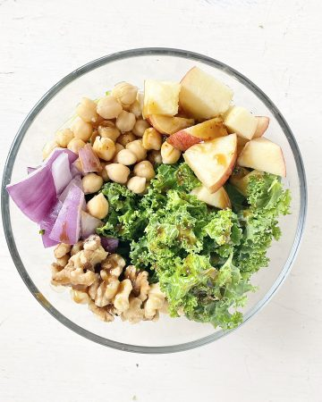 easy winter chickpea salad with kale and chopped apples