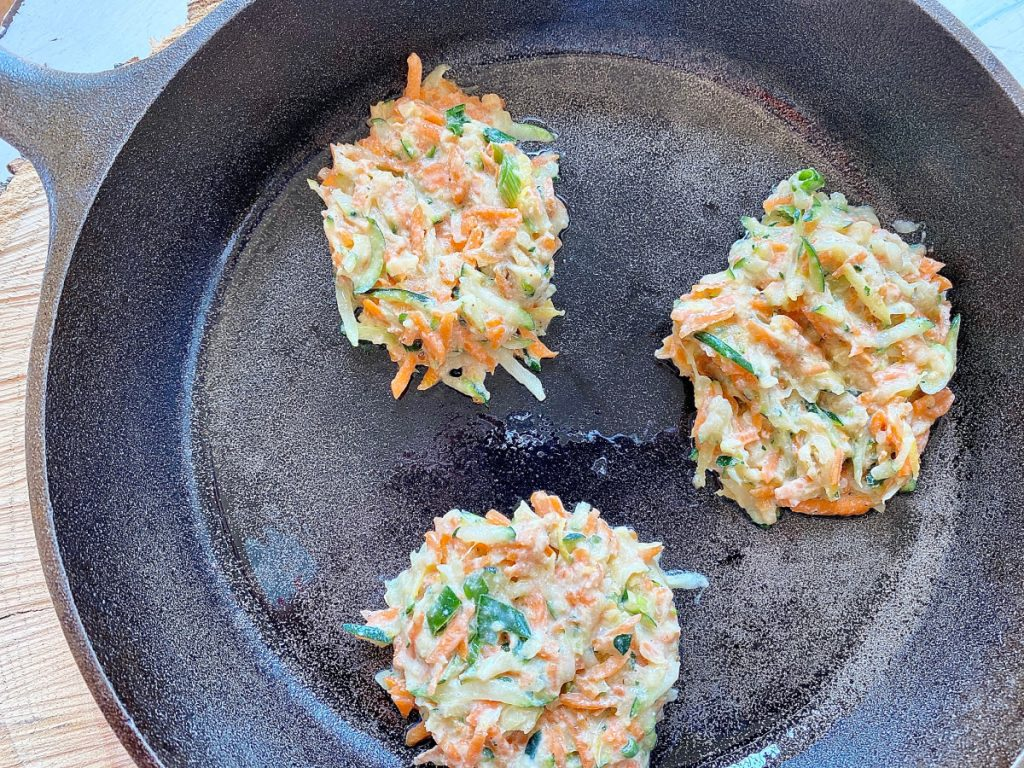 cooking fritters in cast iron skillet