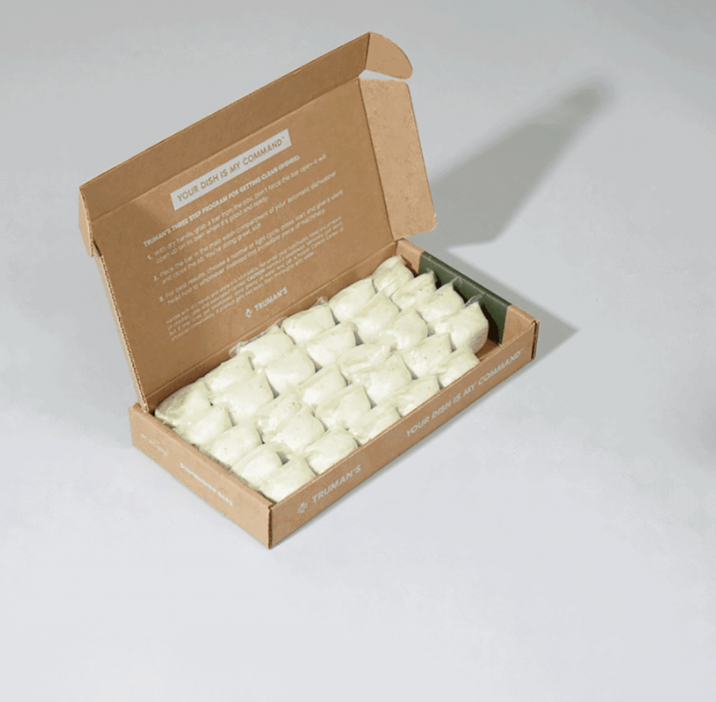 a box of Truman's zero waste dishwasher detergent pods